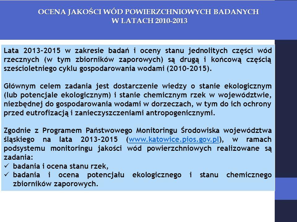 OCENA JAKOŚCI WÓD POWIERZCHNIOWYCH BADANYCH W LATACH 2010-2013 W LATACH 2010-2013 Lata 2013-2015 w zakresie badań i oceny stanu jednolitych części wód rzecznych (w tym zbiorników zaporowych) są drugą i końcową częścią sześcioletniego cyklu gospodarowania wodami (2010-2015).