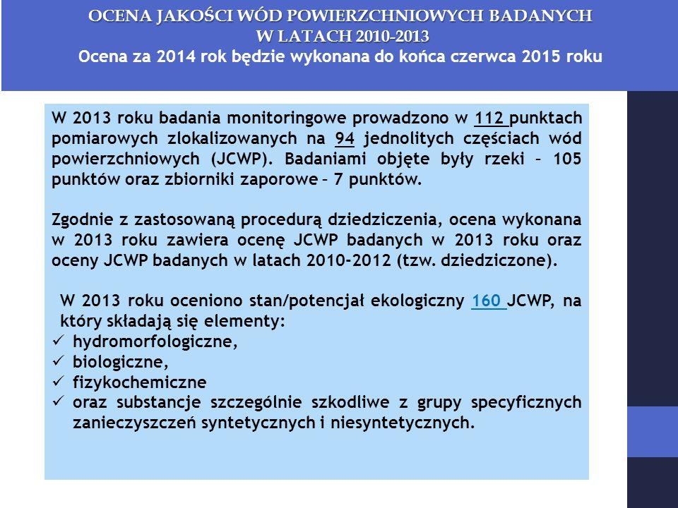 OCENA JAKOŚCI WÓD POWIERZCHNIOWYCH BADANYCH W LATACH 2010-2013 W LATACH 2010-2013 Ocena za 2014 rok będzie wykonana do końca czerwca 2015 roku W 2013 roku badania monitoringowe prowadzono w 112 punktach pomiarowych zlokalizowanych na 94 jednolitych częściach wód powierzchniowych (JCWP).