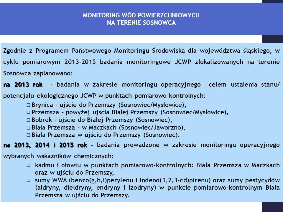 Zgodnie z Programem Państwowego Monitoringu Środowiska dla województwa śląskiego, w cyklu pomiarowym 2013-2015 badania monitoringowe JCWP zlokalizowanych na terenie Sosnowca zaplanowano: na 2013 rok na 2013 rok - badania w zakresie monitoringu operacyjnego celem ustalenia stanu/ potencjału ekologicznego JCWP w punktach pomiarowo-kontrolnych:  Brynica - ujście do Przemszy (Sosnowiec/Mysłowice),  Przemsza - powyżej ujścia Białej Przemszy (Sosnowiec/Mysłowice),  Bobrek - ujście do Białej Przemszy (Sosnowiec),  Biała Przemsza - w Maczkach (Sosnowiec/Jaworzno),  Biała Przemsza w ujściu do Przemszy (Sosnowiec).