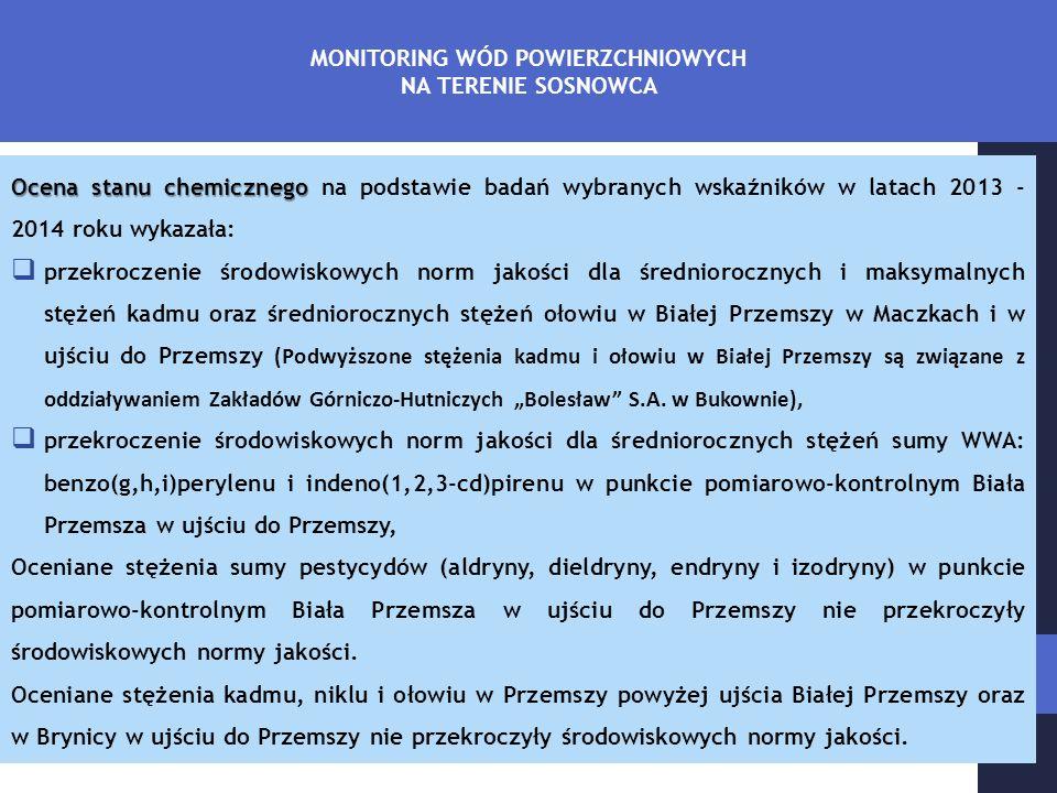 """Ocena stanu chemicznego Ocena stanu chemicznego na podstawie badań wybranych wskaźników w latach 2013 - 2014 roku wykazała:  przekroczenie środowiskowych norm jakości dla średniorocznych i maksymalnych stężeń kadmu oraz średniorocznych stężeń ołowiu w Białej Przemszy w Maczkach i w ujściu do Przemszy (Podwyższone stężenia kadmu i ołowiu w Białej Przemszy są związane z oddziaływaniem Zakładów Górniczo-Hutniczych """"Bolesław S.A."""
