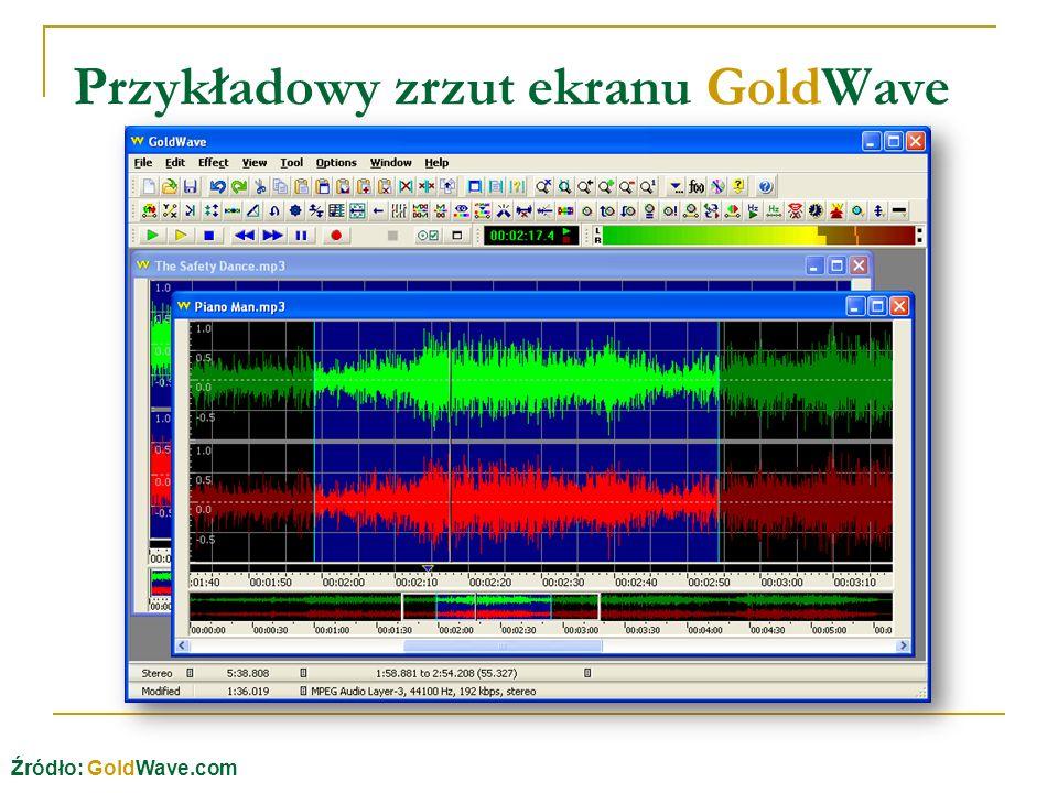 Przykładowy zrzut ekranu GoldWave Źródło: GoldWave.com