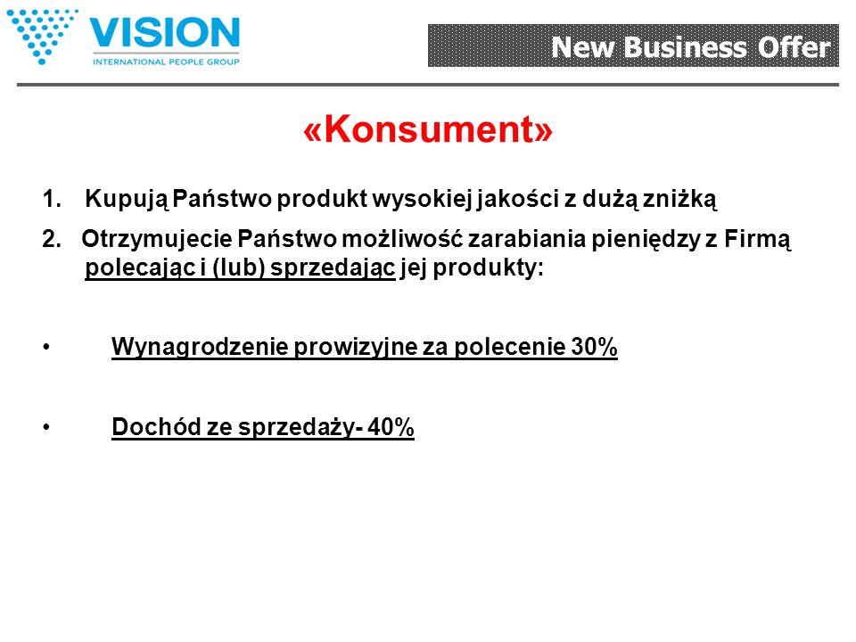 New Business Offer «Konsultant» Może zarabiać pieniądze razem z Firmą, polecając produkty.