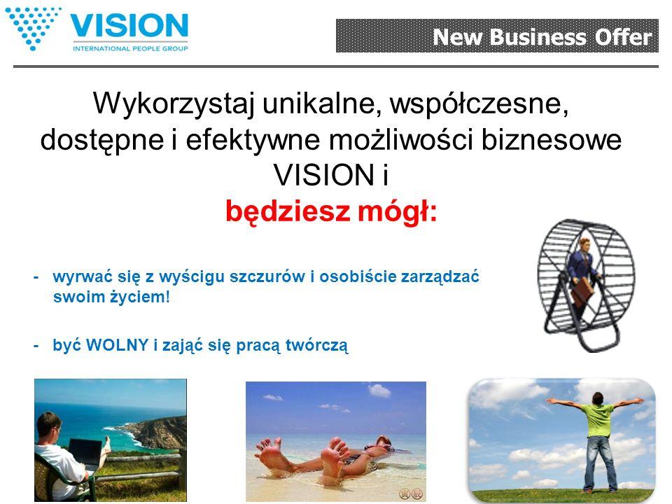 New Business Offer Proszę zwrócić uwagę! Dla dystrybutorów Firma Vision to: Możliwość rozpoczęcia swojego biznesu, Nowe serwisy Dowolne narzędzia bizn