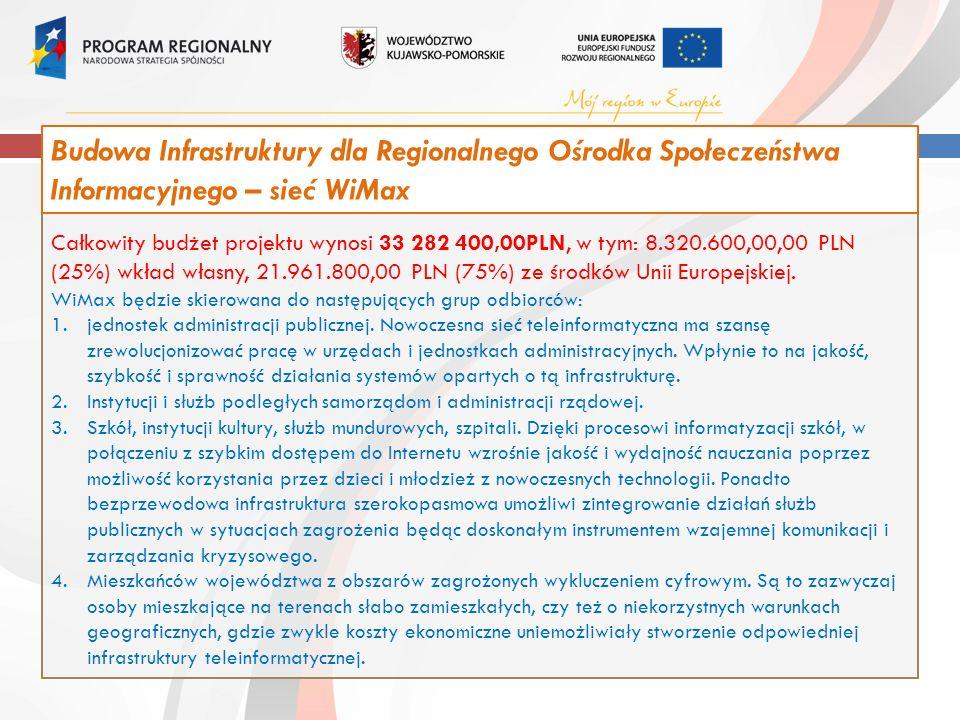 Całkowity budżet projektu wynosi 33 282 400,00PLN, w tym: 8.320.600,00,00 PLN (25%) wkład własny, 21.961.800,00 PLN (75%) ze środków Unii Europejskiej.