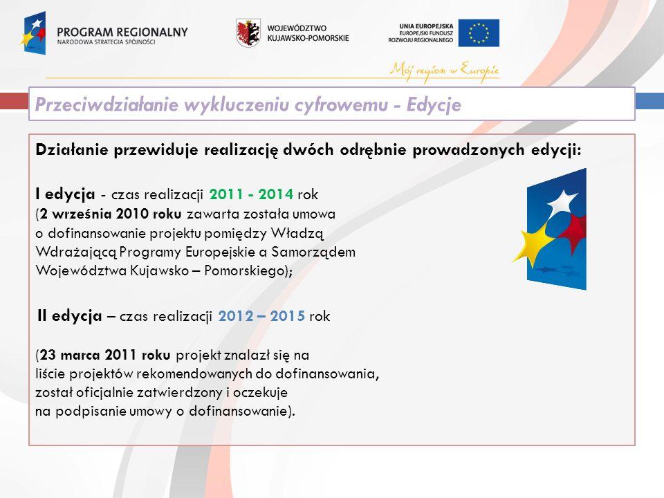 Działanie przewiduje realizację dwóch odrębnie prowadzonych edycji: I edycja - czas realizacji 2011 - 2014 rok (2 września 2010 roku zawarta została umowa o dofinansowanie projektu pomiędzy Władzą Wdrażającą Programy Europejskie a Samorządem Województwa Kujawsko – Pomorskiego); II edycja – czas realizacji 2012 – 2015 rok (23 marca 2011 roku projekt znalazł się na liście projektów rekomendowanych do dofinansowania, został oficjalnie zatwierdzony i oczekuje na podpisanie umowy o dofinansowanie).