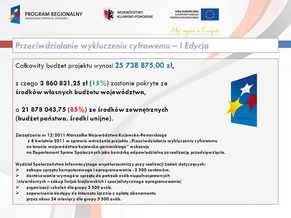 Całkowity budżet projektu wynosi 25 738 875,00 zł, z czego 3 860 831,25 zł (15%) zostanie pokryte ze środków własnych budżetu województwa, a 21 878 043,75 (85%) ze środków zewnętrznych (budżet państwa, środki unijne).