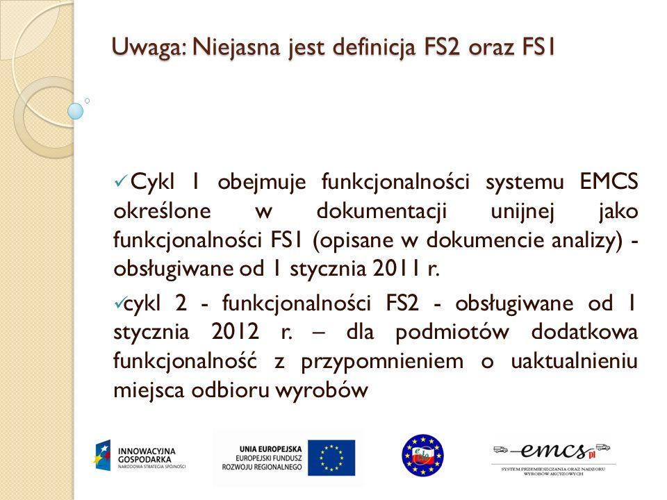 Uwaga: Niejasna jest definicja FS2 oraz FS1 Cykl 1 obejmuje funkcjonalności systemu EMCS określone w dokumentacji unijnej jako funkcjonalności FS1 (op
