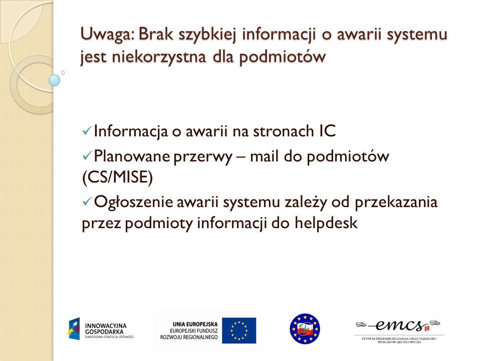 Uwaga: Brak szybkiej informacji o awarii systemu jest niekorzystna dla podmiotów Informacja o awarii na stronach IC Planowane przerwy – mail do podmio