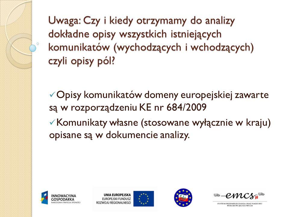 Uwaga: Czy i kiedy otrzymamy do analizy dokładne opisy wszystkich istniejących komunikatów (wychodzących i wchodzących) czyli opisy pól? Opisy komunik