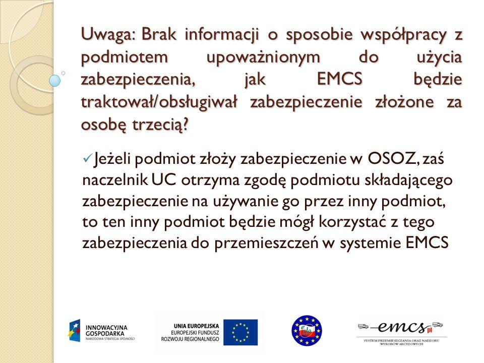 Uwaga: Brak informacji o sposobie współpracy z podmiotem upoważnionym do użycia zabezpieczenia, jak EMCS będzie traktował/obsługiwał zabezpieczenie zł