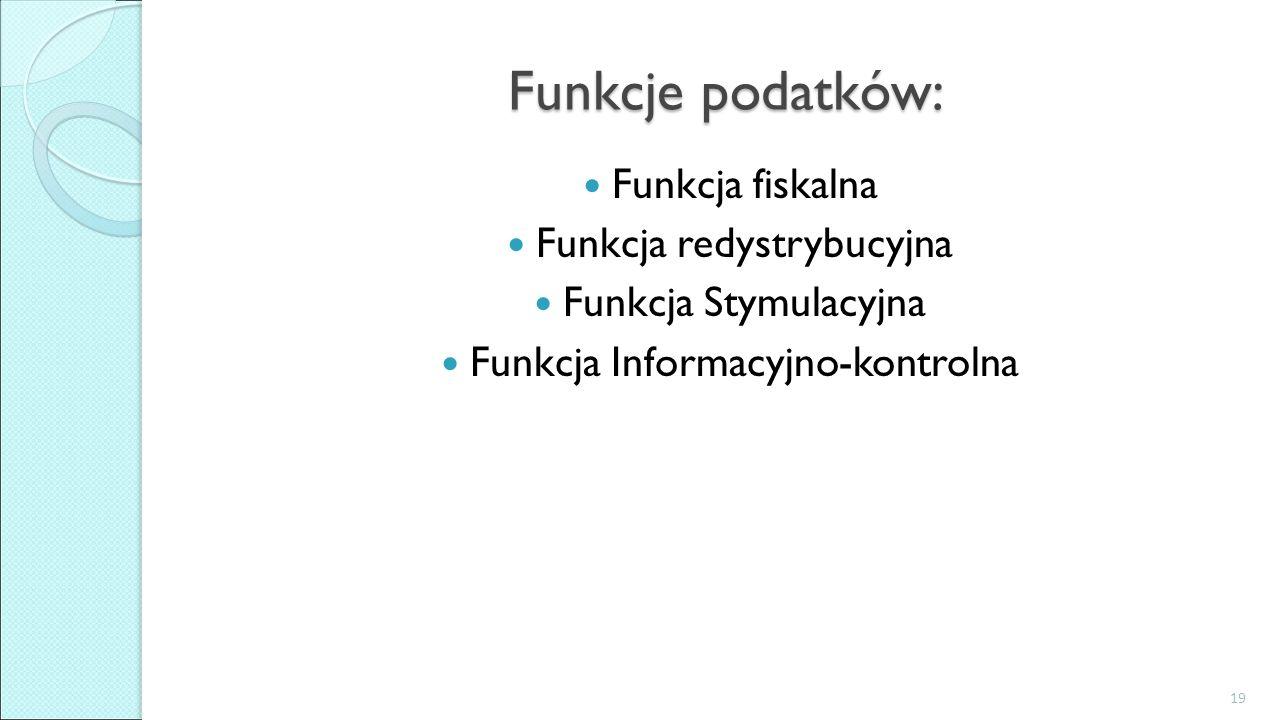 Funkcje podatków: Funkcja fiskalna Funkcja redystrybucyjna Funkcja Stymulacyjna Funkcja Informacyjno-kontrolna 19