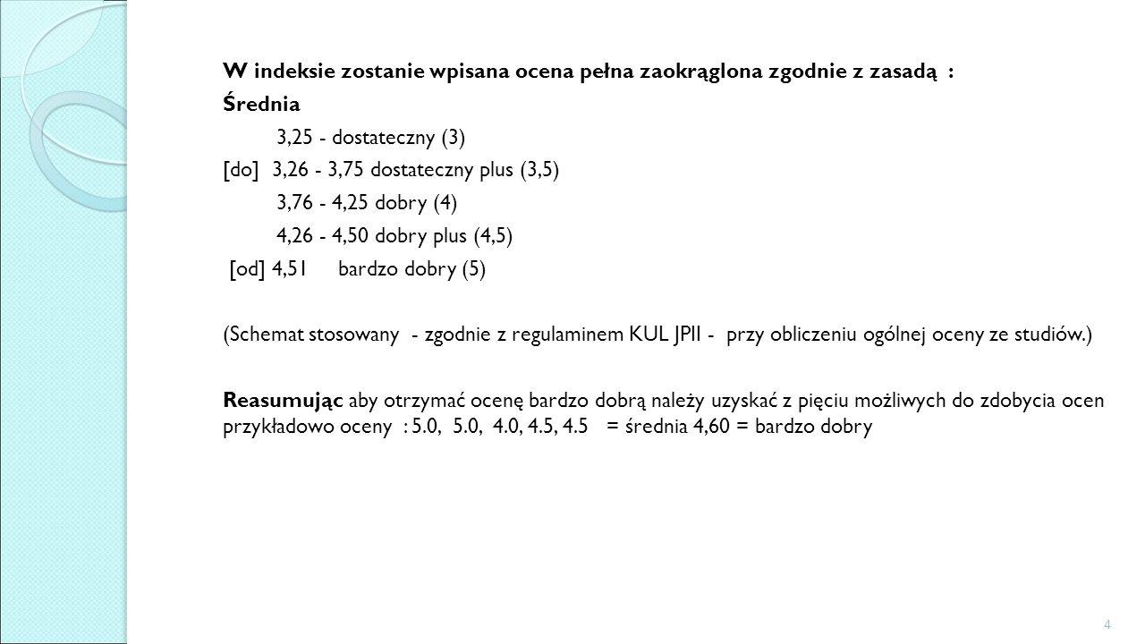 W indeksie zostanie wpisana ocena pełna zaokrąglona zgodnie z zasadą : Średnia 3,25 - dostateczny (3) [do] 3,26 - 3,75 dostateczny plus (3,5) 3,76 - 4,25 dobry (4) 4,26 - 4,50 dobry plus (4,5) [od] 4,51 bardzo dobry (5) (Schemat stosowany - zgodnie z regulaminem KUL JPII - przy obliczeniu ogólnej oceny ze studiów.) Reasumując aby otrzymać ocenę bardzo dobrą należy uzyskać z pięciu możliwych do zdobycia ocen przykładowo oceny : 5.0, 5.0, 4.0, 4.5, 4.5 = średnia 4,60 = bardzo dobry 4