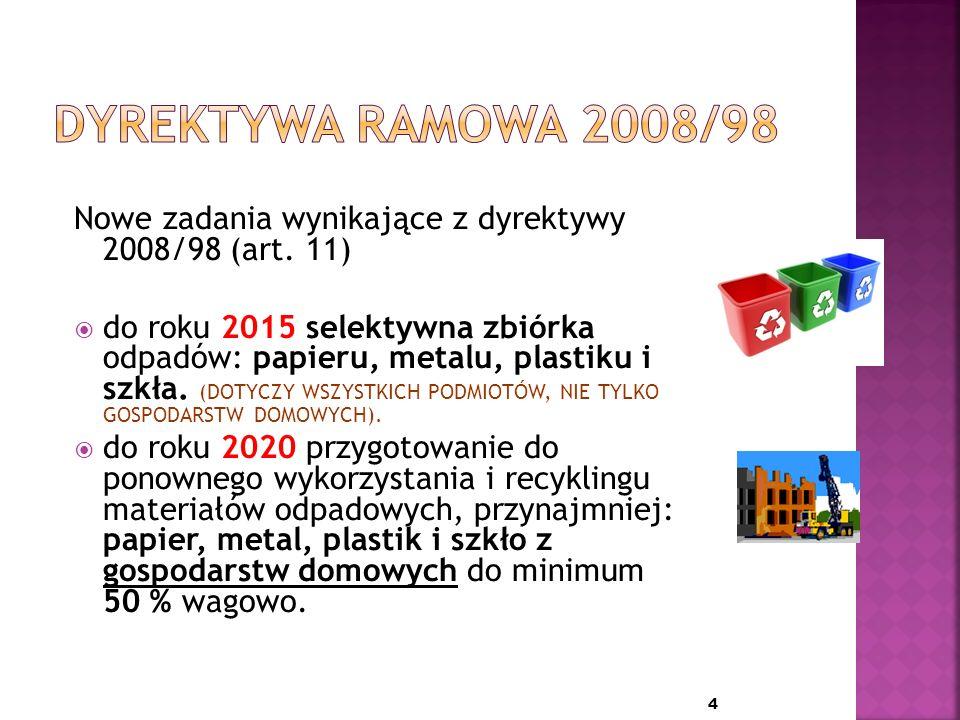 1 lipca 2011 roku Sejm uchwalił ustawę o zmianie ustawy o utrzymaniu czystości i porządku w gminach oraz niektórych innych ustaw.