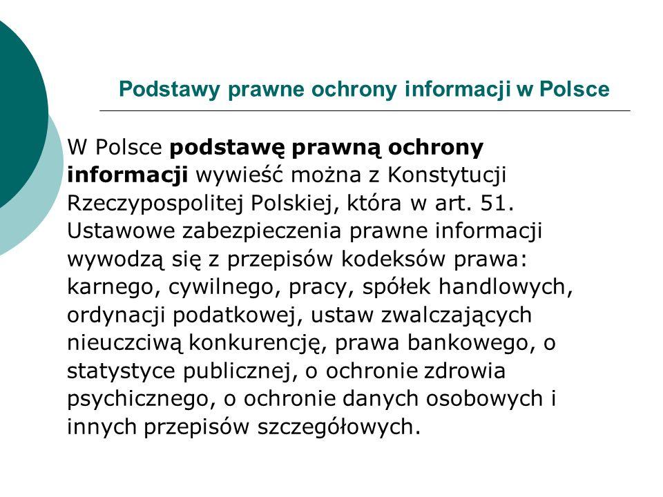 Podstawy prawne ochrony informacji w Polsce W Polsce podstawę prawną ochrony informacji wywieść można z Konstytucji Rzeczypospolitej Polskiej, która w art.