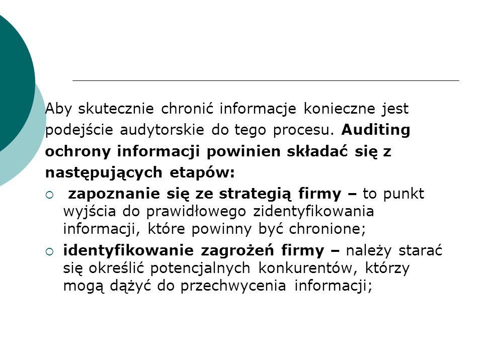 Aby skutecznie chronić informacje konieczne jest podejście audytorskie do tego procesu.