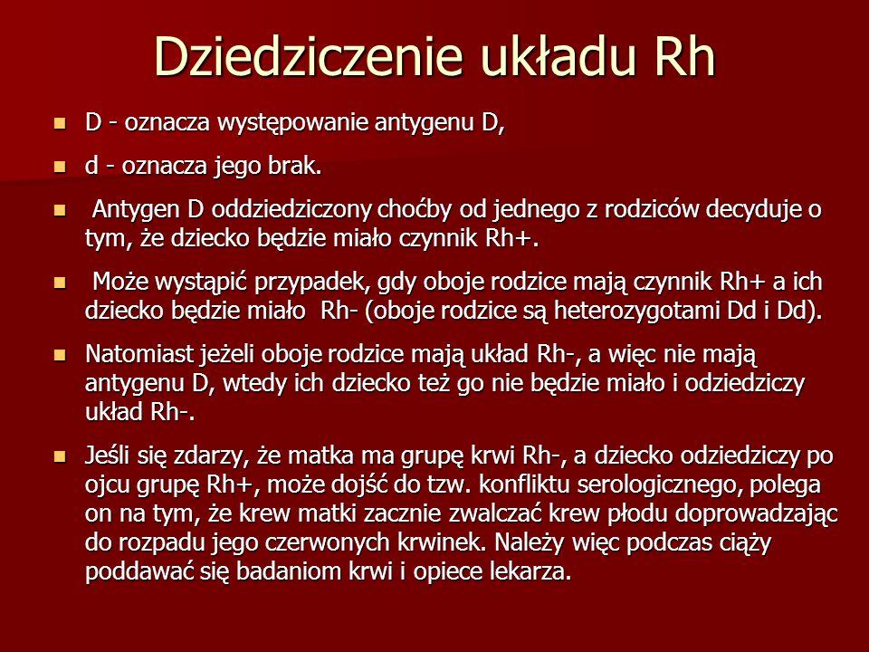 Dziedziczenie układu Rh D - oznacza występowanie antygenu D, D - oznacza występowanie antygenu D, d - oznacza jego brak. d - oznacza jego brak. Antyge