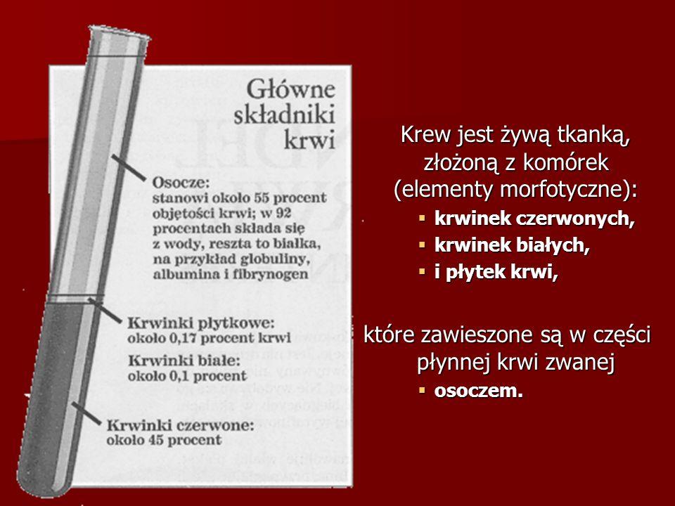 Krew jest żywą tkanką, złożoną z komórek (elementy morfotyczne): Krew jest żywą tkanką, złożoną z komórek (elementy morfotyczne):  krwinek czerwonych