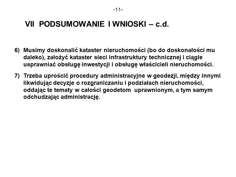 -11- VII PODSUMOWANIE I WNIOSKI – c.d.
