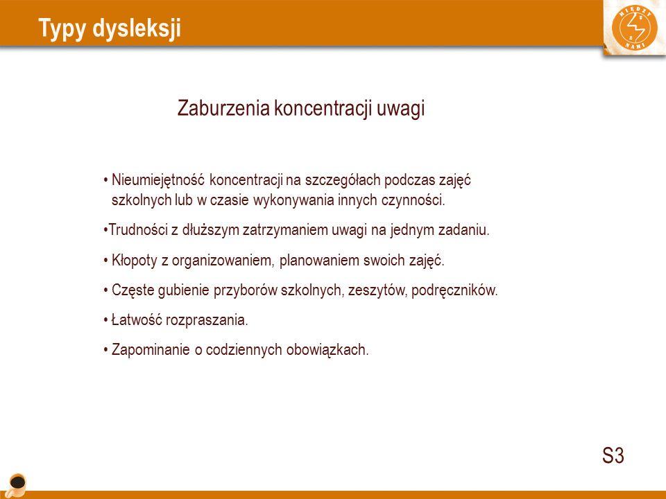 Typy dysleksji Zaburzenia koncentracji uwagi Nieumiejętność koncentracji na szczegółach podczas zajęć..szkolnych lub w czasie wykonywania innych czynności.