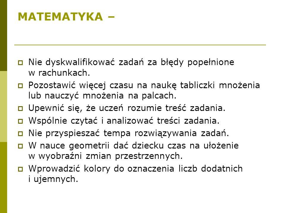 MATEMATYKA –  Nie dyskwalifikować zadań za błędy popełnione w rachunkach.