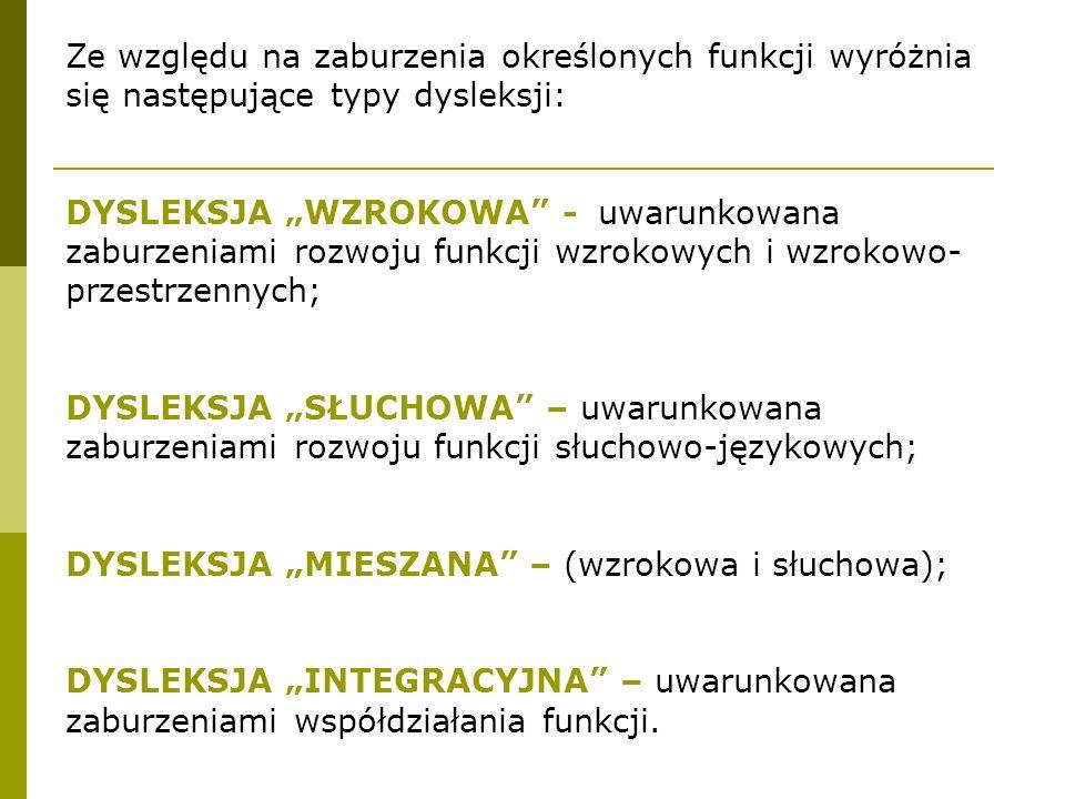 """Ze względu na zaburzenia określonych funkcji wyróżnia się następujące typy dysleksji: DYSLEKSJA """"WZROKOWA - uwarunkowana zaburzeniami rozwoju funkcji wzrokowych i wzrokowo- przestrzennych; DYSLEKSJA """"SŁUCHOWA – uwarunkowana zaburzeniami rozwoju funkcji słuchowo-językowych; DYSLEKSJA """"MIESZANA – (wzrokowa i słuchowa); DYSLEKSJA """"INTEGRACYJNA – uwarunkowana zaburzeniami współdziałania funkcji."""