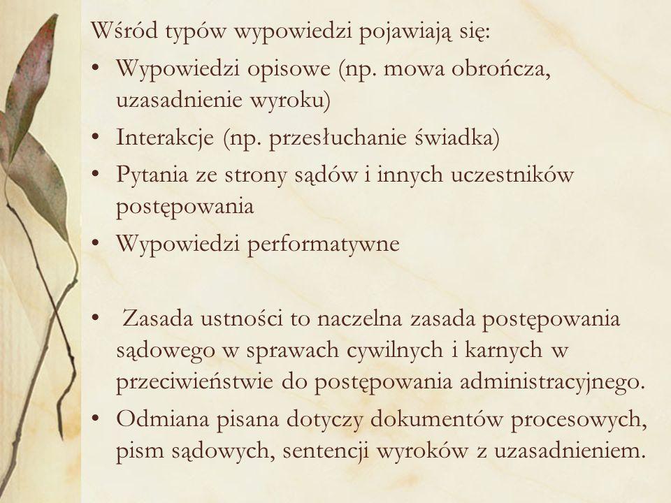 Wśród typów wypowiedzi pojawiają się: Wypowiedzi opisowe (np.