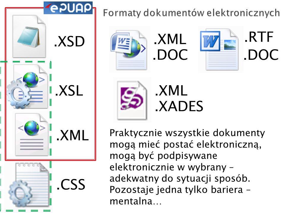 .CSS.XML.DOC.XML.XADES.XML.XSL.XSD.RTF Praktycznie wszystkie dokumenty mogą mieć postać elektroniczną, mogą być podpisywane elektronicznie w wybrany – adekwatny do sytuacji sposób.