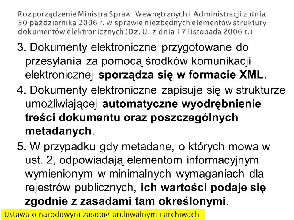 3. Dokumenty elektroniczne przygotowane do przesyłania za pomocą środków komunikacji elektronicznej sporządza się w formacie XML. 4. Dokumenty elektro