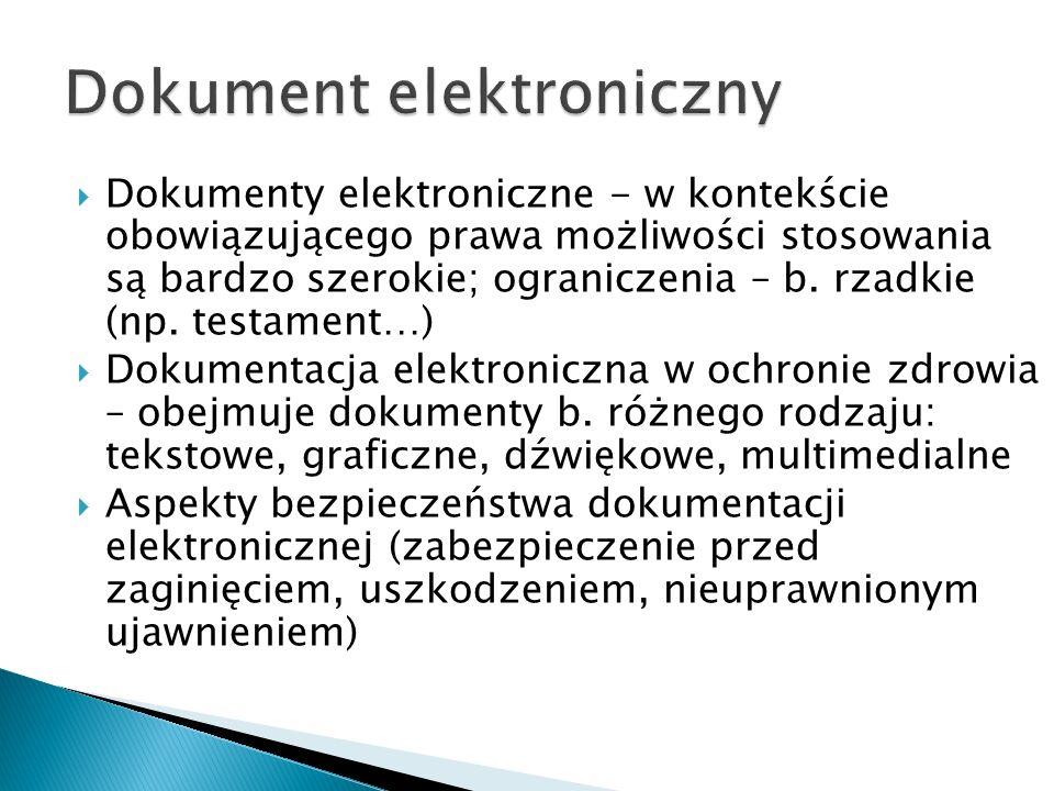  Dokumenty elektroniczne - w kontekście obowiązującego prawa możliwości stosowania są bardzo szerokie; ograniczenia – b.