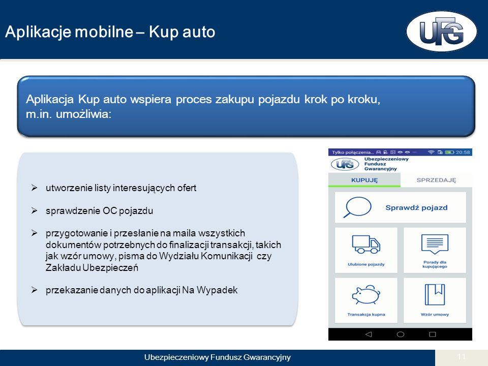 Ubezpieczeniowy Fundusz Gwarancyjny 11 Aplikacje mobilne – Kup auto Aplikacja Kup auto wspiera proces zakupu pojazdu krok po kroku, m.in.