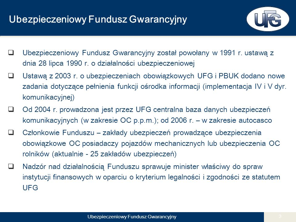 Ubezpieczeniowy Fundusz Gwarancyjny 3  Ubezpieczeniowy Fundusz Gwarancyjny został powołany w 1991 r.