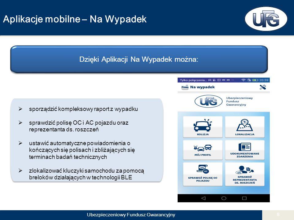 Ubezpieczeniowy Fundusz Gwarancyjny 8 Aplikacje mobilne – Na Wypadek Dzięki Aplikacji Na Wypadek można:  sporządzić kompleksowy raport z wypadku  sprawdzić polisę OC i AC pojazdu oraz reprezentanta ds.