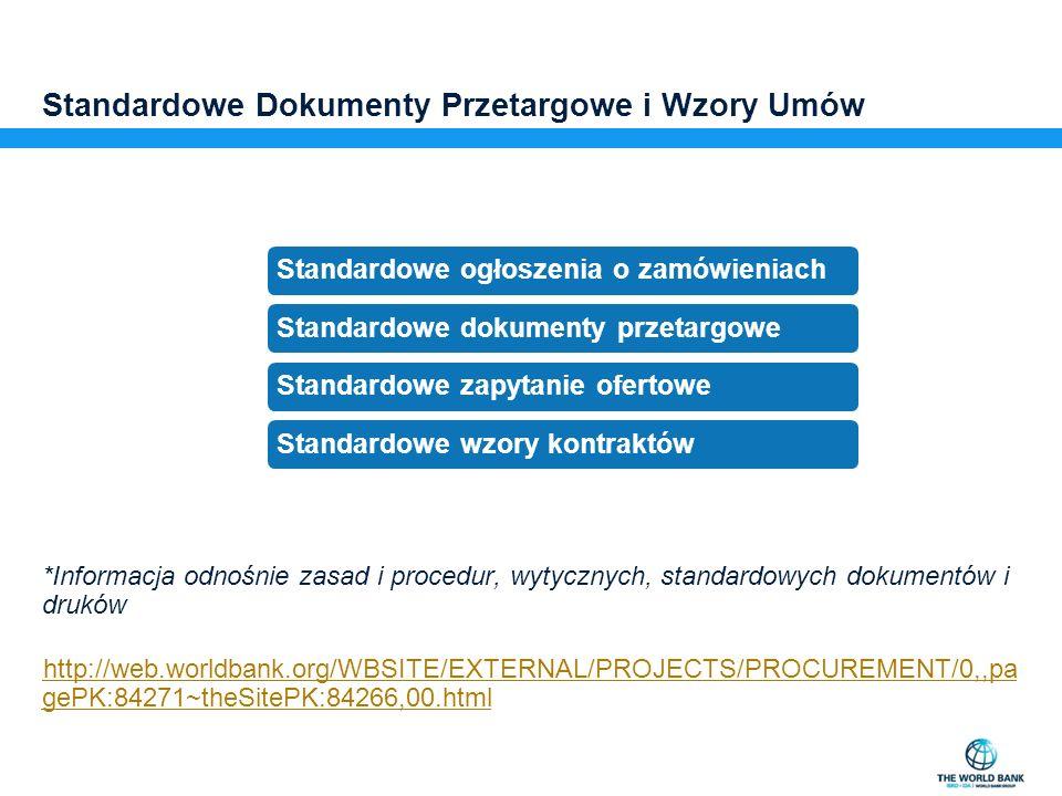 Standardowe Dokumenty Przetargowe i Wzory Umów *Informacja odnośnie zasad i procedur, wytycznych, standardowych dokumentów i druków http://web.worldba