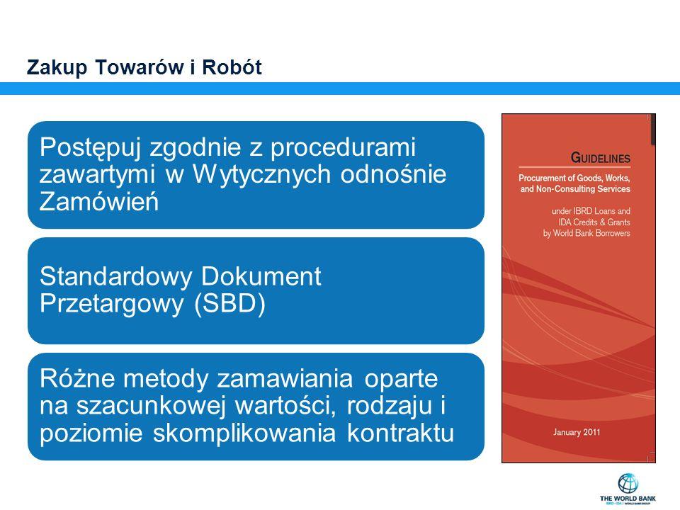 Zakup Towarów i Robót Postępuj zgodnie z procedurami zawartymi w Wytycznych odnośnie Zamówień Standardowy Dokument Przetargowy (SBD) Różne metody zama