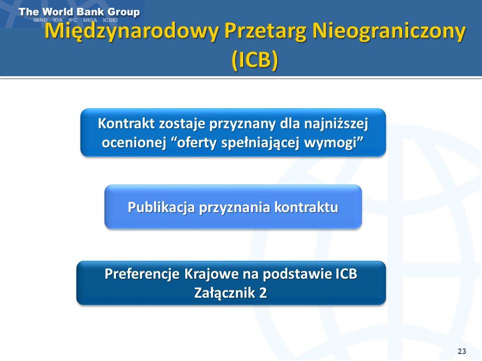23 Kontrakt zostaje przyznany dla najniższej ocenionej oferty spełniającej wymogi Publikacja przyznania kontraktu Preferencje Krajowe na podstawie ICB Załącznik 2