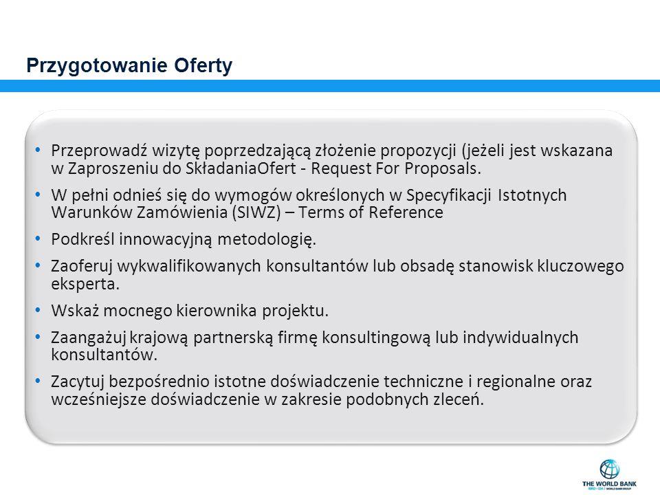 Przygotowanie Oferty Przeprowadź wizytę poprzedzającą złożenie propozycji (jeżeli jest wskazana w Zaproszeniu do SkładaniaOfert - Request For Proposals.