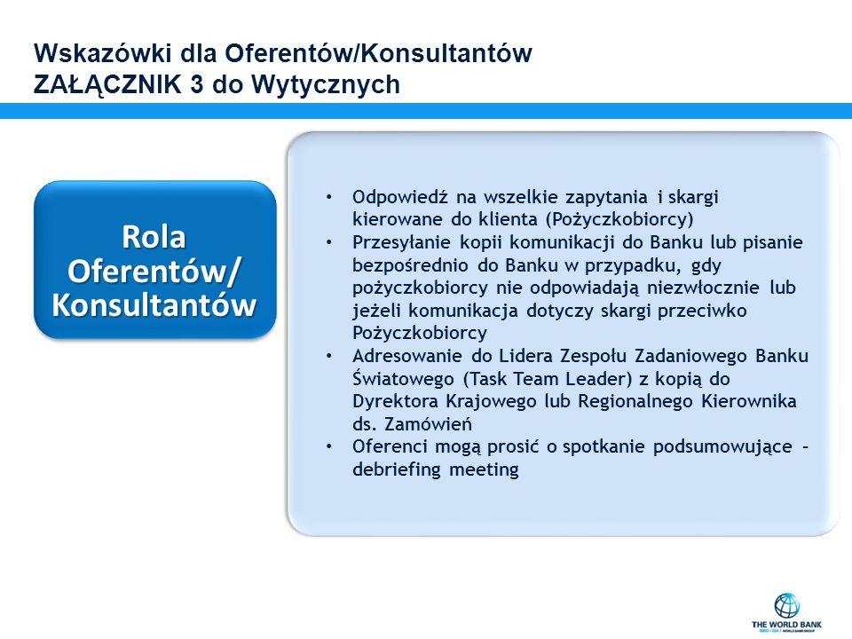 Wskazówki dla Oferentów/Konsultantów ZAŁĄCZNIK 3 do Wytycznych Rola Oferentów/ Konsultantów Konsultantów Odpowiedź na wszelkie zapytania i skargi kier