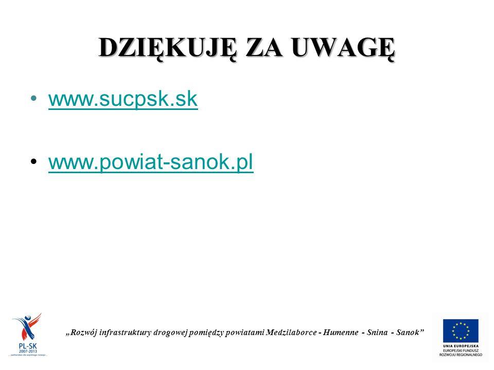 """DZIĘKUJĘ ZA UWAGĘ www.sucpsk.sk www.powiat-sanok.pl """"Rozwój infrastruktury drogowej pomiędzy powiatami Medzilaborce - Humenne - Snina - Sanok"""