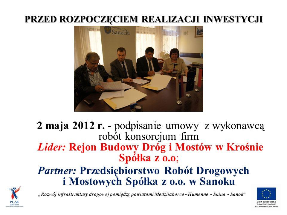 PRZED ROZPOCZĘCIEM REALIZACJI INWESTYCJI 2 maja 2012 r.