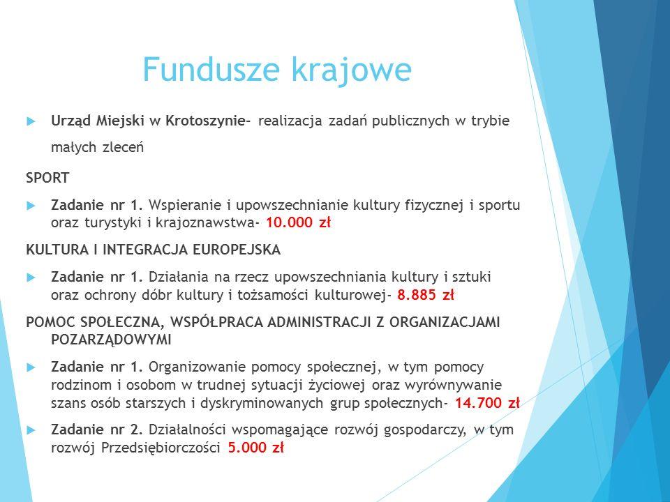 Fundusze krajowe  Urząd Miejski w Krotoszynie- realizacja zadań publicznych w trybie małych zleceń SPORT  Zadanie nr 1. Wspieranie i upowszechnianie