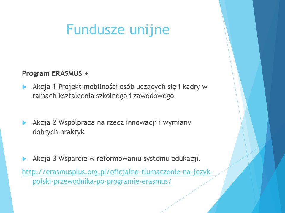 Fundusze unijne Program ERASMUS +  Akcja 1 Projekt mobilności osób uczących się i kadry w ramach kształcenia szkolnego i zawodowego  Akcja 2 Współpraca na rzecz innowacji i wymiany dobrych praktyk  Akcja 3 Wsparcie w reformowaniu systemu edukacji.