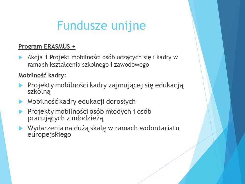 Fundusze unijne Program ERASMUS +  Akcja 1 Projekt mobilności osób uczących się i kadry w ramach kształcenia szkolnego i zawodowego Mobilność kadry: