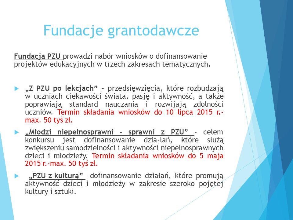 """Fundacje grantodawcze Fundacja PZU prowadzi nabór wniosków o dofinansowanie projektów edukacyjnych w trzech zakresach tematycznych.  """"Z PZU po lekcja"""