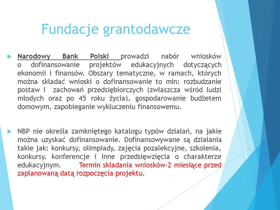Fundacje grantodawcze  Narodowy Bank Polski prowadzi nabór wniosków o dofinansowanie projektów edukacyjnych dotyczących ekonomii i finansów. Obszary