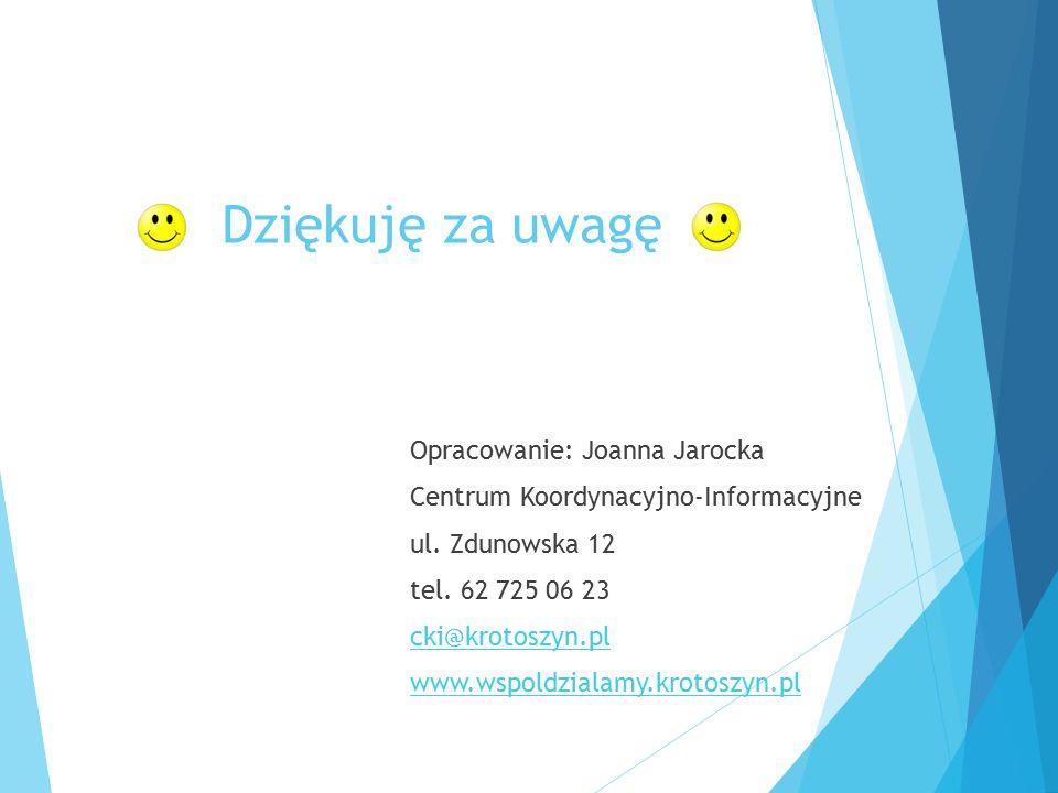 Dziękuję za uwagę Opracowanie: Joanna Jarocka Centrum Koordynacyjno-Informacyjne ul. Zdunowska 12 tel. 62 725 06 23 cki@krotoszyn.pl www.wspoldzialamy