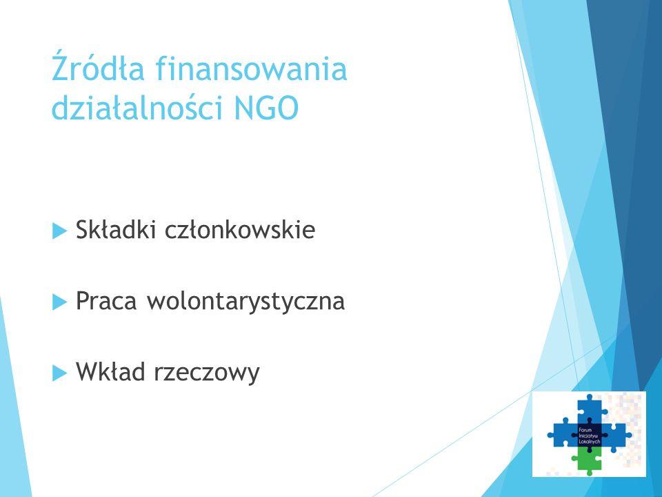 Źródła finansowania działalności NGO  Składki członkowskie  Praca wolontarystyczna  Wkład rzeczowy