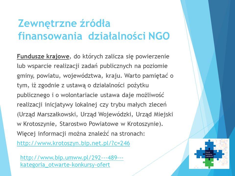 Zewnętrzne źródła finansowania działalności NGO Fundusze krajowe, do których zalicza się powierzenie lub wsparcie realizacji zadań publicznych na poziomie gminy, powiatu, województwa, kraju.