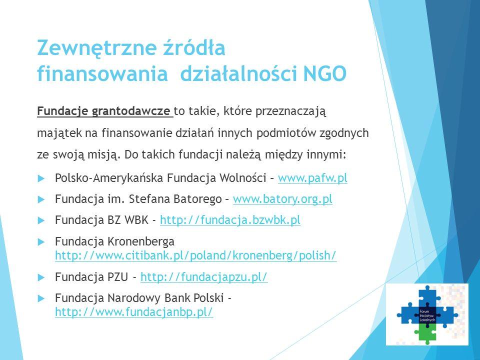 Zewnętrzne źródła finansowania działalności NGO Fundacje grantodawcze to takie, które przeznaczają majątek na finansowanie działań innych podmiotów zg