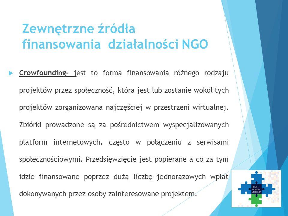 Zewnętrzne źródła finansowania działalności NGO  Crowfounding- jest to forma finansowania różnego rodzaju projektów przez społeczność, która jest lub zostanie wokół tych projektów zorganizowana najczęściej w przestrzeni wirtualnej.
