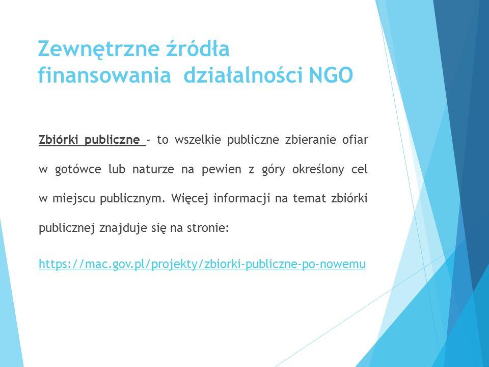 Zewnętrzne źródła finansowania działalności NGO Zbiórki publiczne - to wszelkie publiczne zbieranie ofiar w gotówce lub naturze na pewien z góry okreś